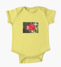 Vector Style Poppy With Natural Background  One Piece - Short Sleeve
