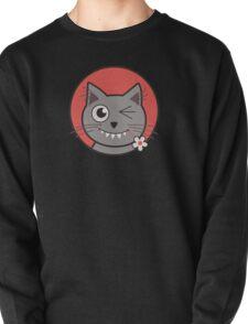 Flower Nibbling Winking Cat T-Shirt