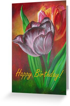 Two Tulips Happy Birthday Greeting by taiche