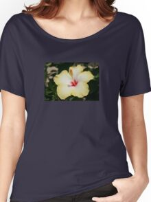 Yellow Hibiscus With Garden Background Women's Relaxed Fit T-Shirt
