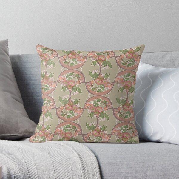 Retro Art Nouveau Roses Pattern Throw Pillow