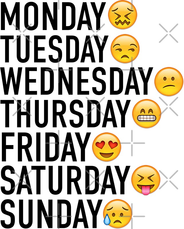 Moods of the Week Expressed Through Emojis by FullTimeFangirl