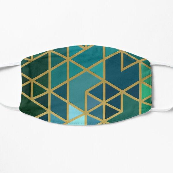 Gold, Green, and Blue Geometric Pattern Flat Mask