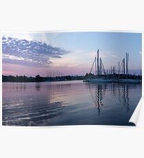 Soft Purple Ripples - Yachts and Clouds Reflections Poster