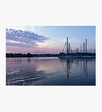 Soft Purple Ripples - Yachts and Clouds Reflections Photographic Print