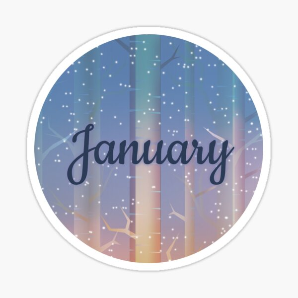 January monthly image for bullet journals & greeting cards Sticker