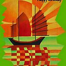 Happy Birthday Junk on Sea of Green Cubist Abstract  by taiche
