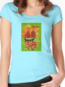 Happy Birthday Junk on Sea of Green Cubist Abstract  Women's Fitted Scoop T-Shirt