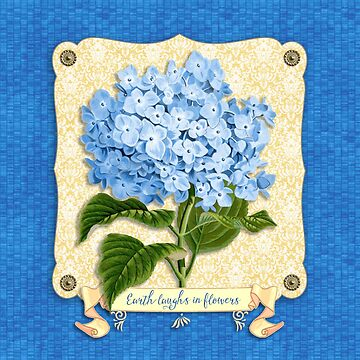 Earth Laughs In Flowers Blue Hydrangea Yellow Damask by beverlyclaire