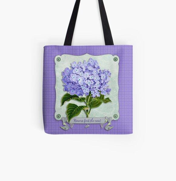 Purple Hydrangea Fancy Ribbon Fiber Paper Cutouts All Over Print Tote Bag