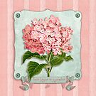 Pink Hydrangea Green Ribbon Striped Paper Cutouts by Beverly Claire Kaiya