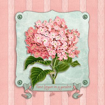 Pink Hydrangea Green Ribbon Striped Paper Cutouts by beverlyclaire