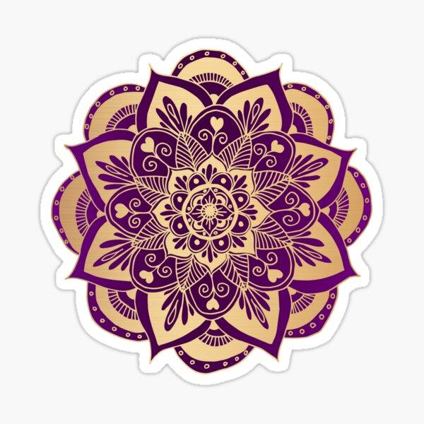 Purple and Gold Flower Mandala Sticker