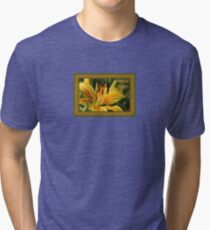 Birthday Wishes Greeting Card With A Yellow Lily Tri-blend T-Shirt