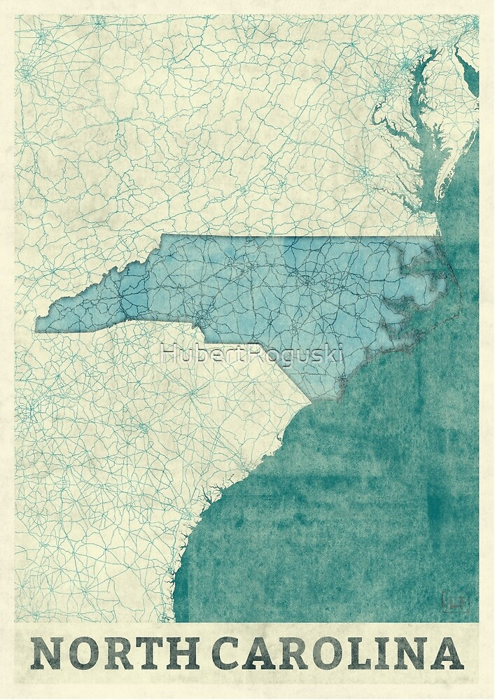 North Carolina State Map Blue Vintage by HubertRoguski