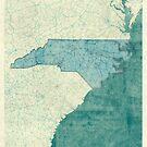 North Carolina State Map Blue Vintage by HubertRoguski