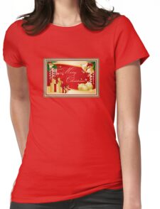 Merry Christmas Greeting With Gifts Bows And Ornaments T-Shirt