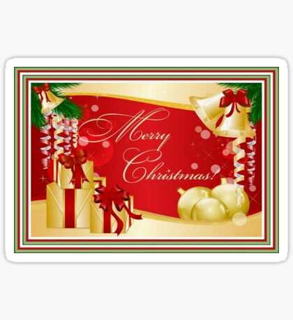 Merry Christmas Greeting With Gifts Bows And Ornaments Sticker
