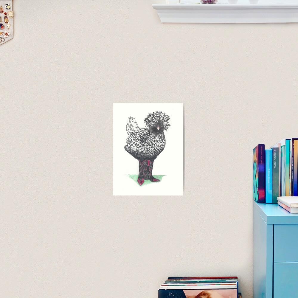 Silver Polish chicken in cowboy boots Art Print