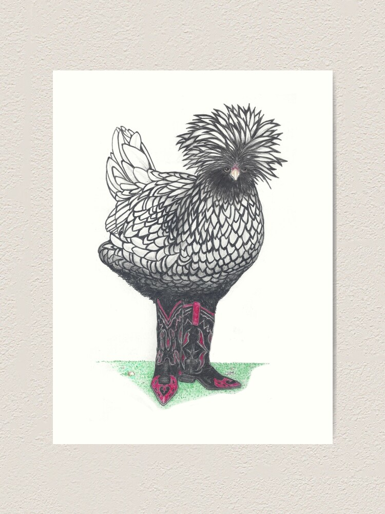 Alternate view of Silver Polish chicken in cowboy boots Art Print