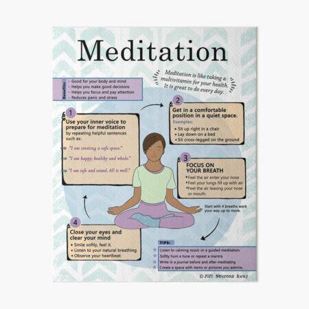 Meditation for Kids - Self Care - Mindfulness Poster Art Board Print