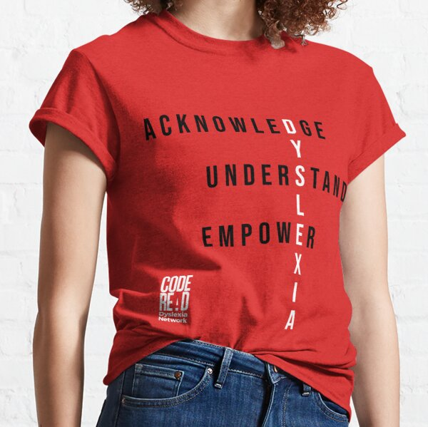 Do It RED for Dyslexia_Red Background Classic T-Shirt