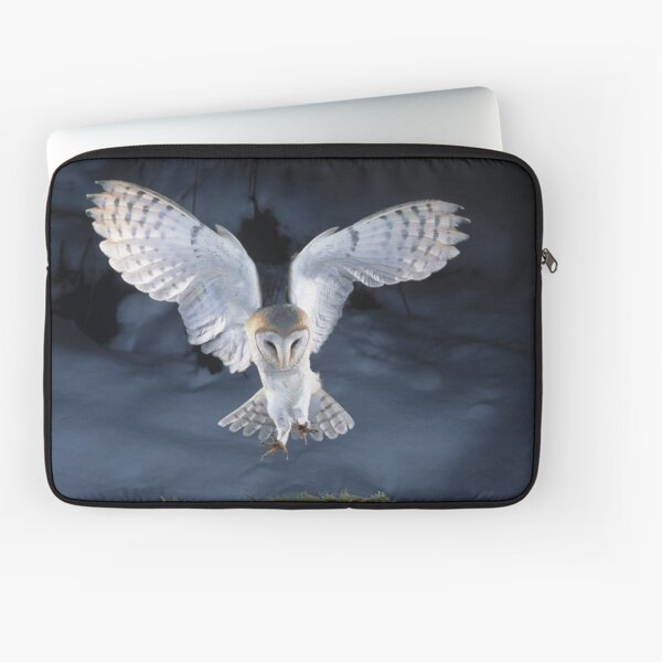 Barn Owl Landing on a Snow Covered Branch Laptop Sleeve