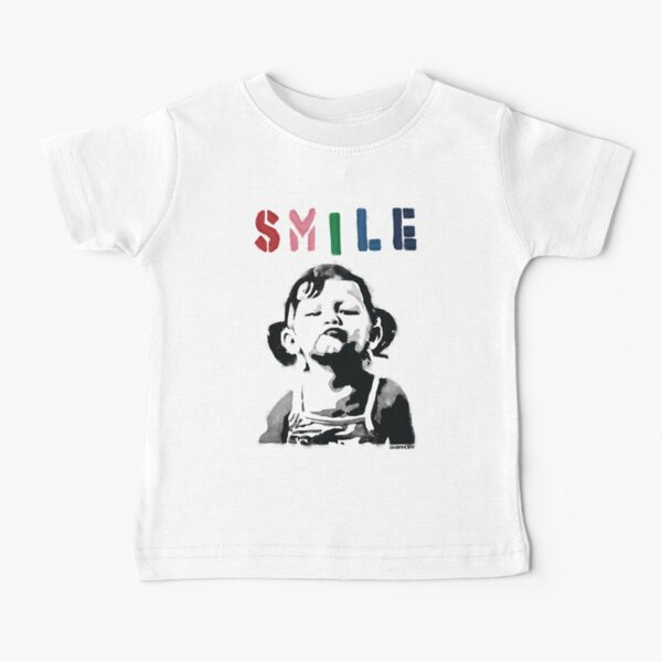 Banksy graffiti Quote SMILE with girl not smiling Girl Power resistance HD HIGH QUALITY ONLINE STORE Baby T-Shirt
