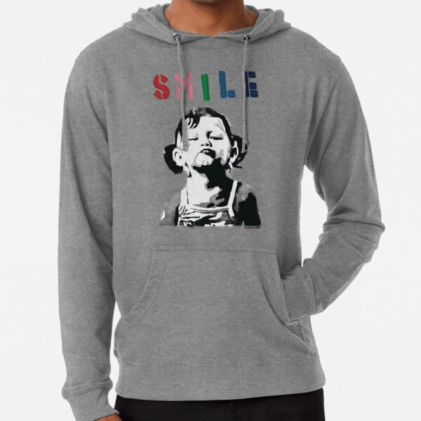 Banksy graffiti Quote SMILE with girl not smiling Girl Power resistance HD HIGH QUALITY ONLINE STORE Lightweight Hoodie