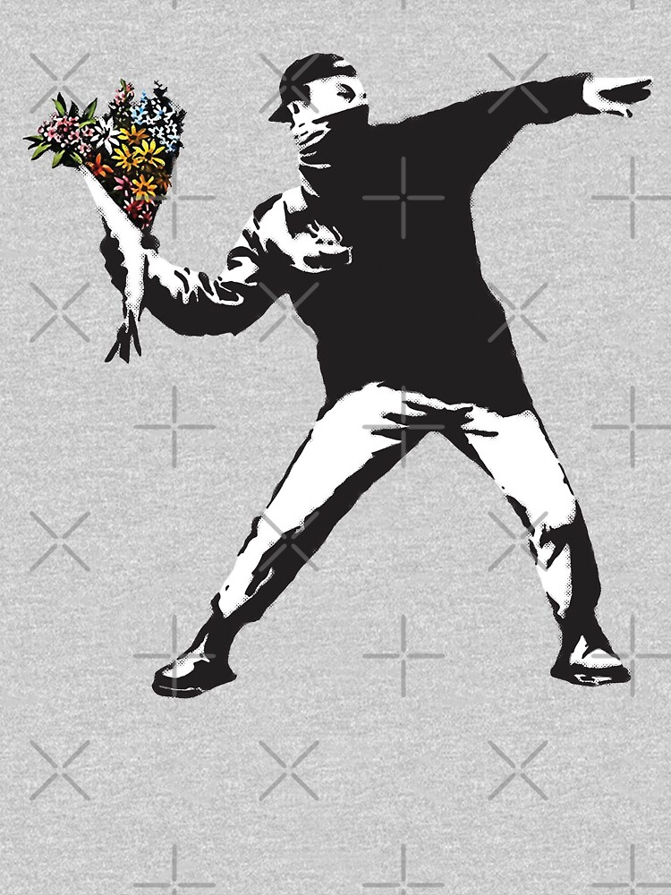 Banksy graffiti Protest anarchist throwing flowers Thrower Make Art not war on white background HD HIGH QUALITY ONLINE STORE by iresist