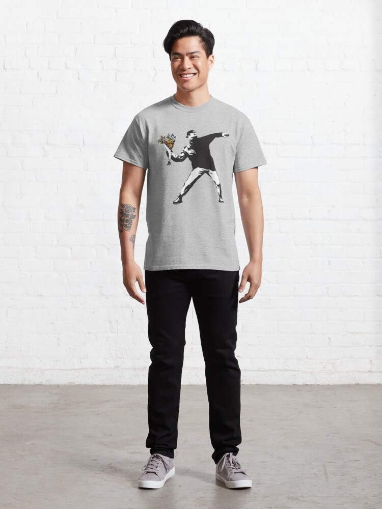 Alternate view of Banksy graffiti Protest anarchist throwing flowers Thrower Make Art not war on white background HD HIGH QUALITY ONLINE STORE Classic T-Shirt