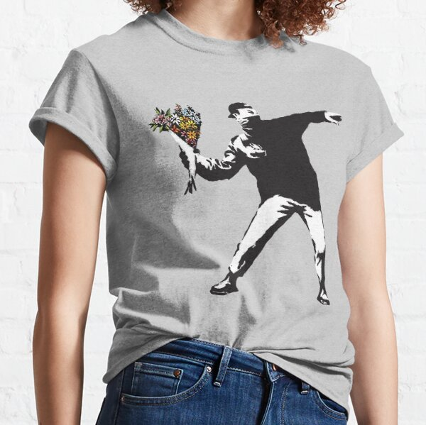 Banksy graffiti Protest anarchist throwing flowers Thrower Make Art not war on white background HD HIGH QUALITY ONLINE STORE Classic T-Shirt
