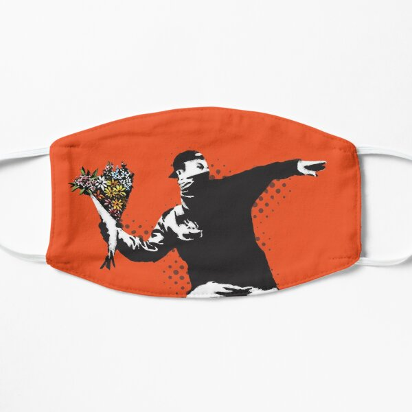 Banksy graffiti Protest anarchist throwing flowers Thrower Make Art not war on orange background HD HIGH QUALITY ONLINE STORE Flat Mask