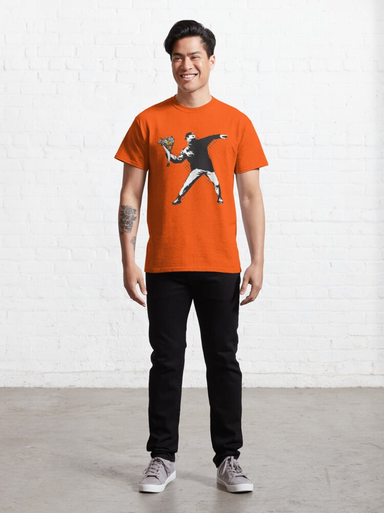 Alternate view of Banksy graffiti Protest anarchist throwing flowers Thrower Make Art not war on orange background HD HIGH QUALITY ONLINE STORE Classic T-Shirt