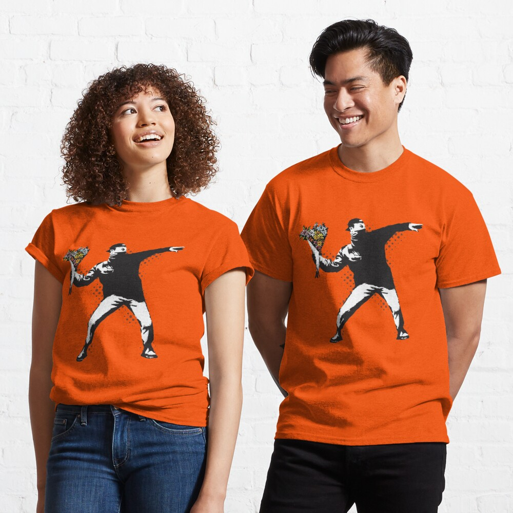 Banksy graffiti Protest anarchist throwing flowers Thrower Make Art not war on orange background HD HIGH QUALITY ONLINE STORE Classic T-Shirt