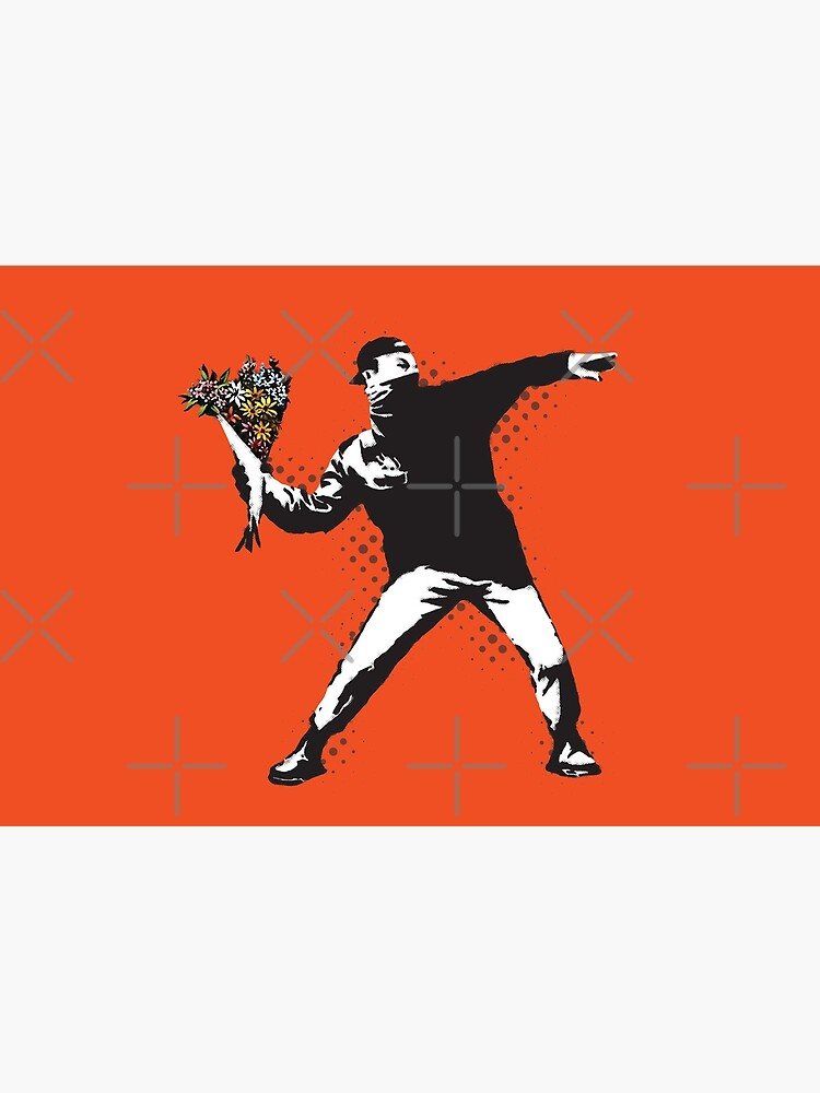 Banksy graffiti Protest anarchist throwing flowers Thrower Make Art not war on orange background HD HIGH QUALITY ONLINE STORE by iresist