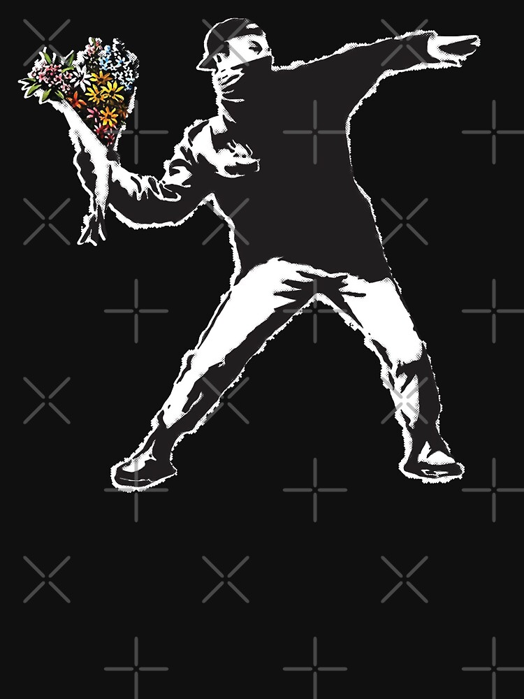 Banksy graffiti Protest anarchist throwing flowers Thrower Make Art not war on black background HD HIGH QUALITY ONLINE STORE by iresist