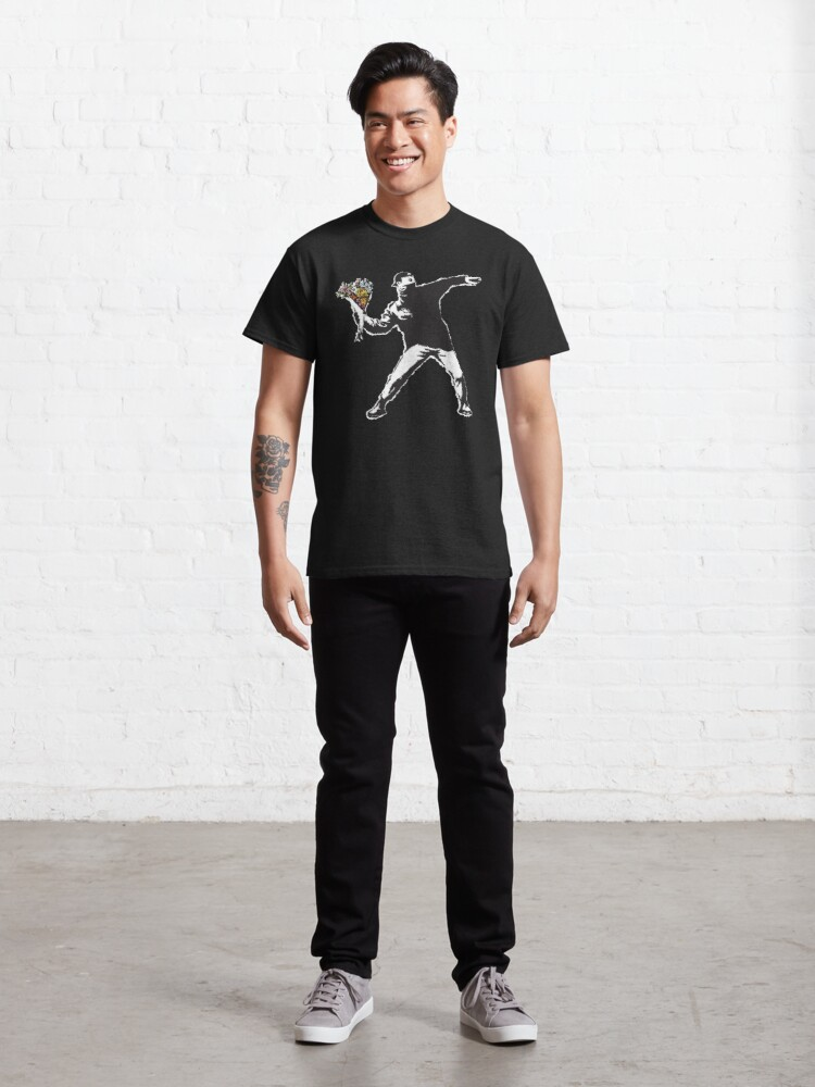 Alternate view of Banksy graffiti Protest anarchist throwing flowers Thrower Make Art not war on black background HD HIGH QUALITY ONLINE STORE Classic T-Shirt