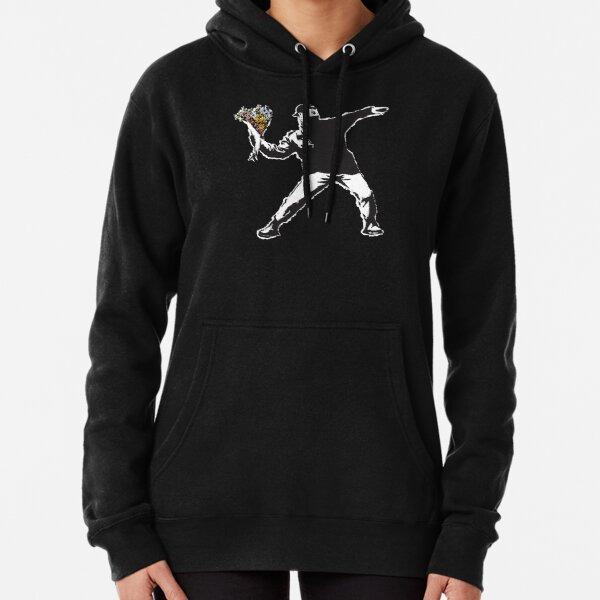 Banksy graffiti Protest anarchist throwing flowers Thrower Make Art not war on black background HD HIGH QUALITY ONLINE STORE Pullover Hoodie