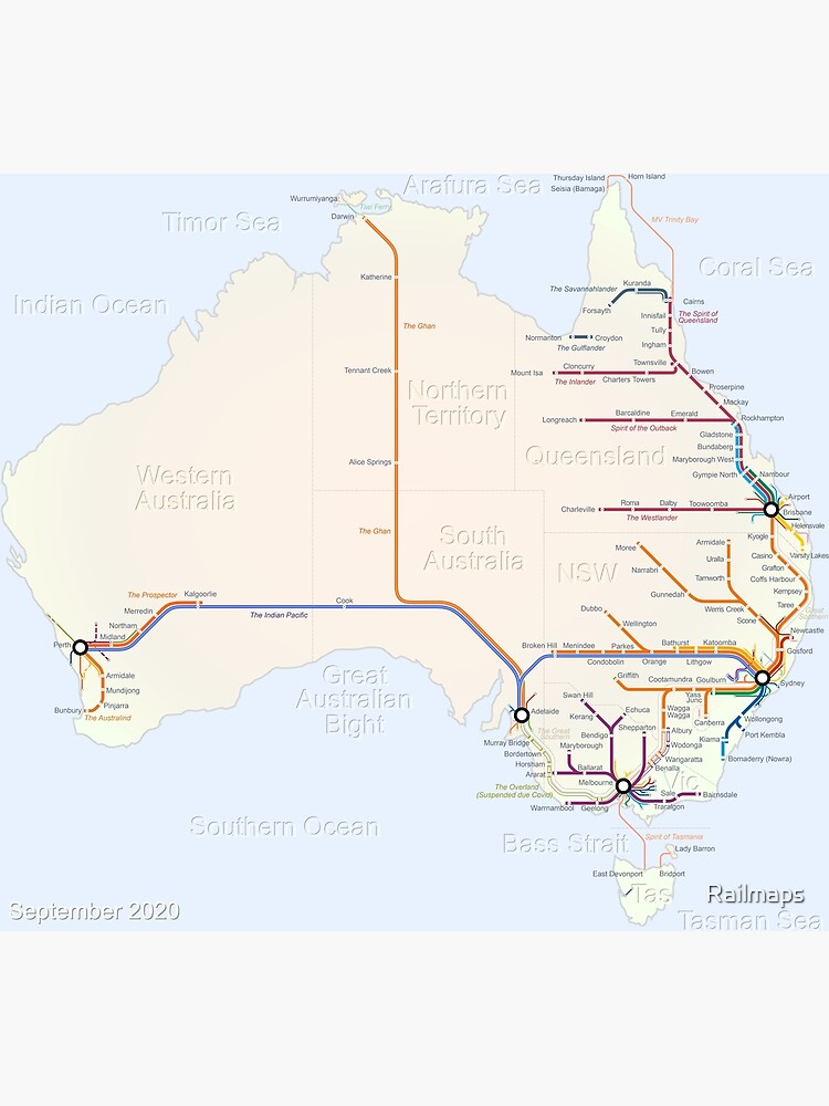 Australian Rail Map by Railmaps