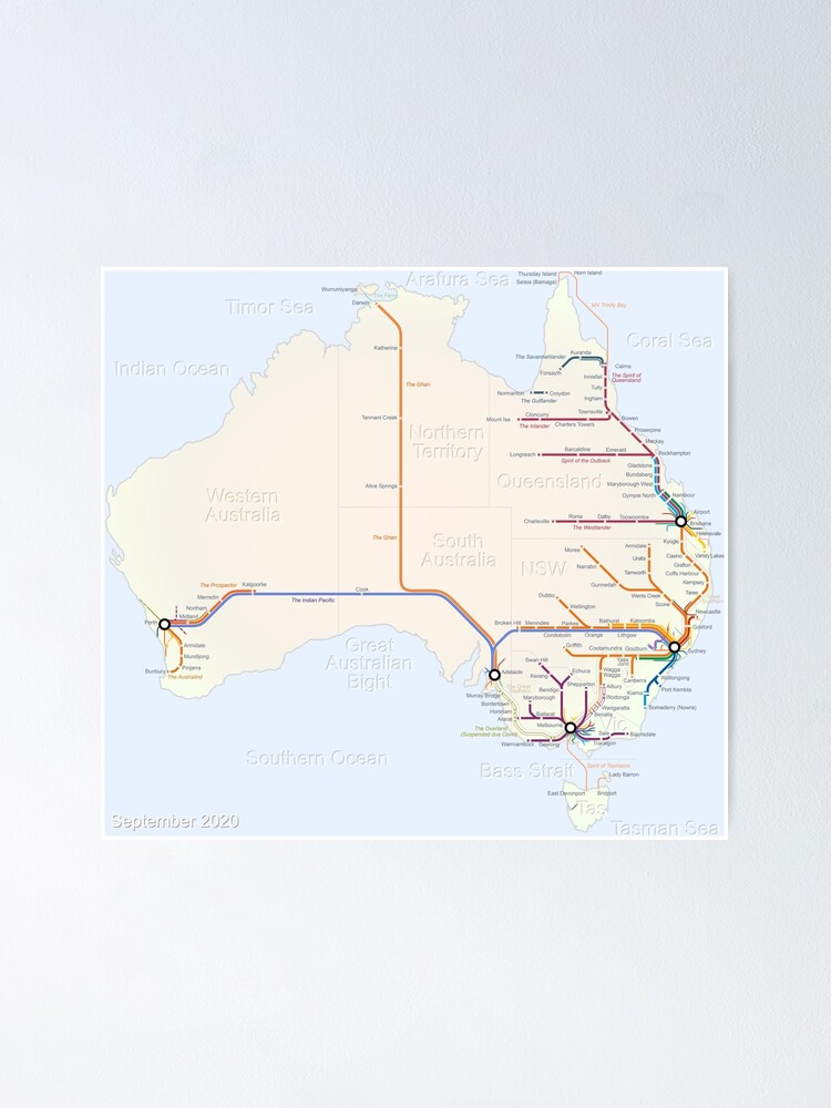 Alternate view of Australian Rail Map Poster