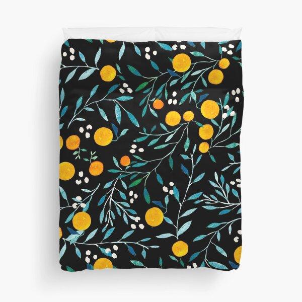 Oranges on Black Duvet Cover