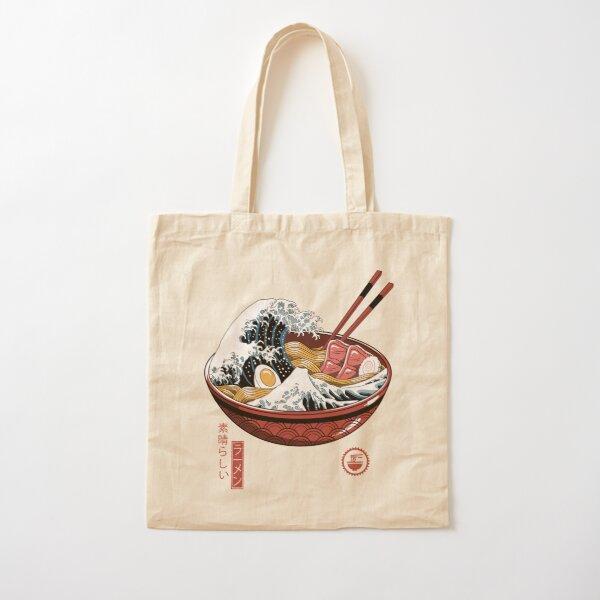 Great Ramen Wave White Cotton Tote Bag
