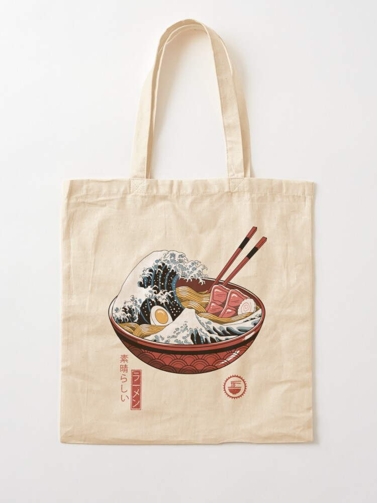 Alternate view of Great Ramen Wave White Tote Bag