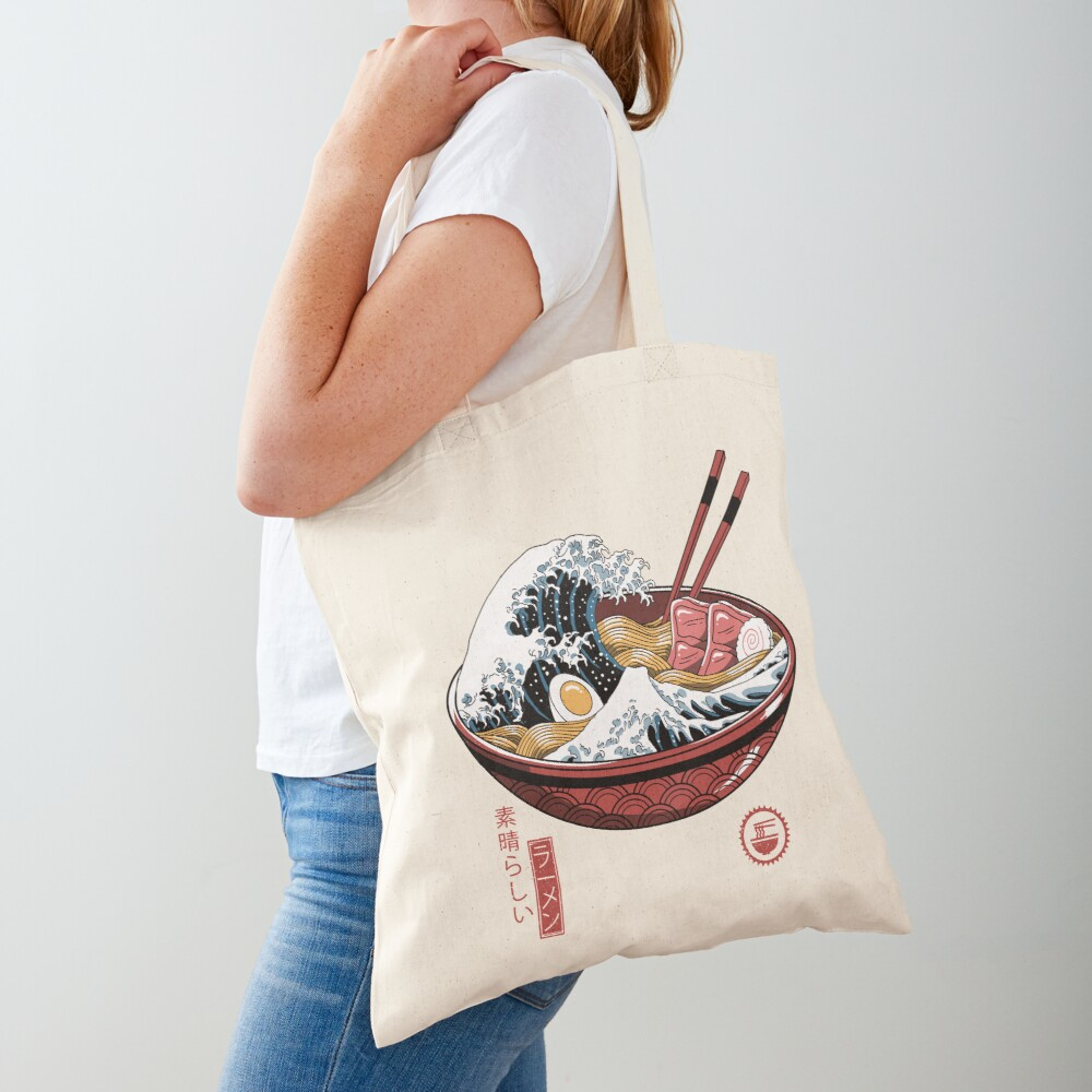 Great Ramen Wave White Tote Bag