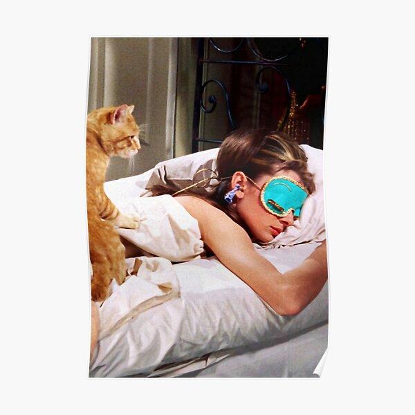 Sleep With Cat - Audrey Hepburn Poster