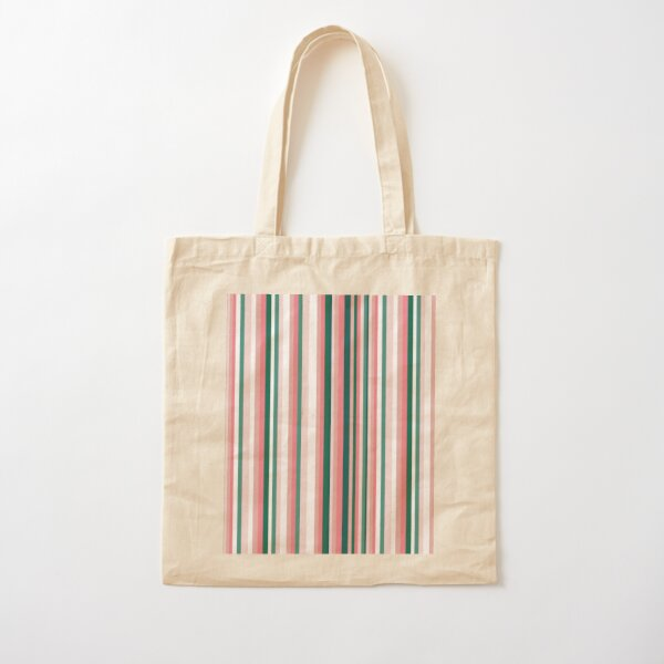 Pinks and Green Stripe Cotton Tote Bag