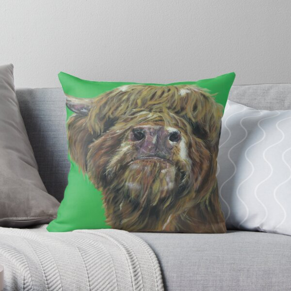 Och Aye The Moo. Highland cow, Heilan Scottish coo art by award-winning UK artist Sam Fenner Throw Pillow