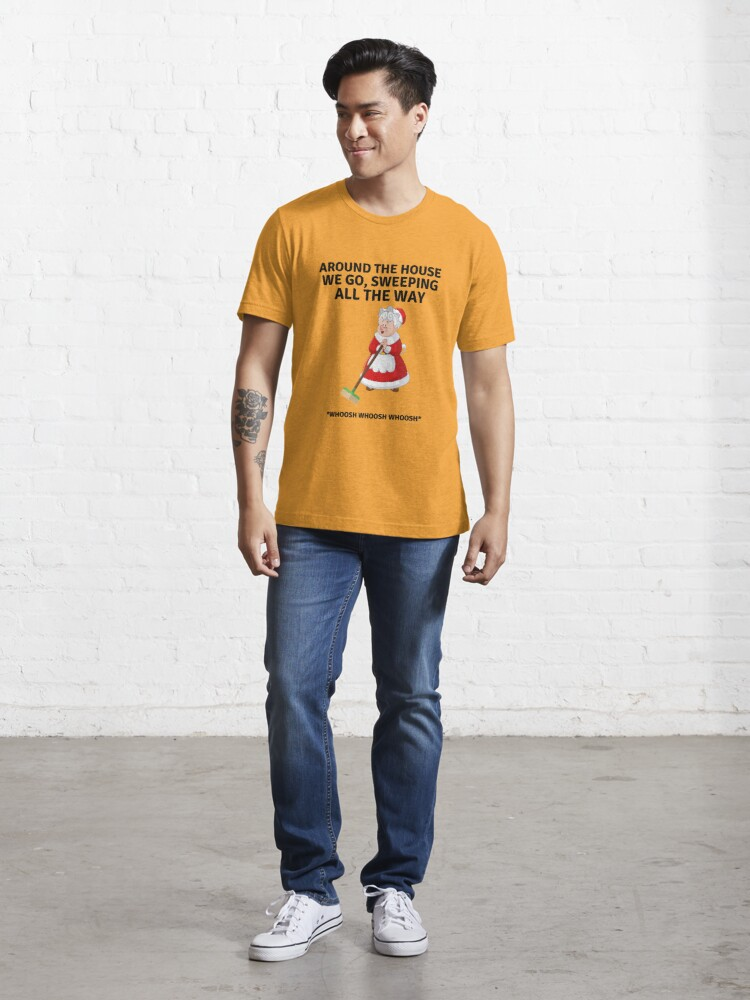 Alternate view of Sweeping All the Way, Housekeeping Humor with Mrs. Santa Clause and Broom Essential T-Shirt