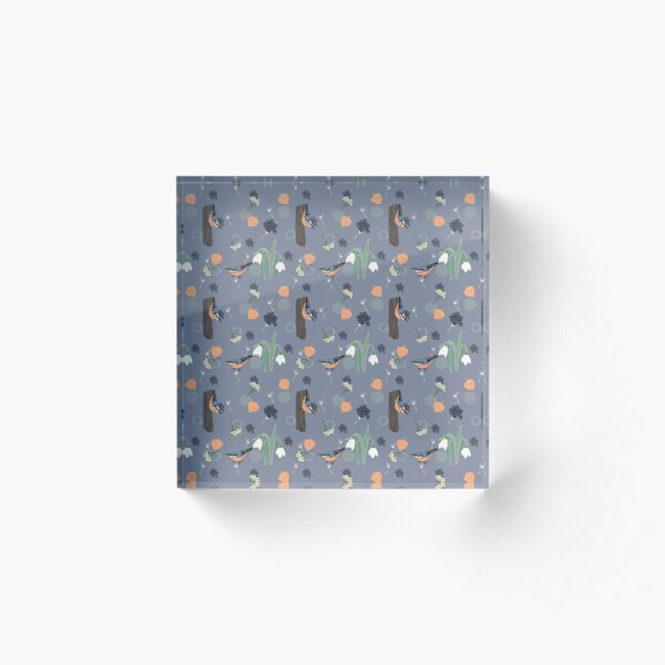 The little nuthatch, a layered pattern featuring birds, snowdrops, physalis and textures, blue background Acrylic Block
